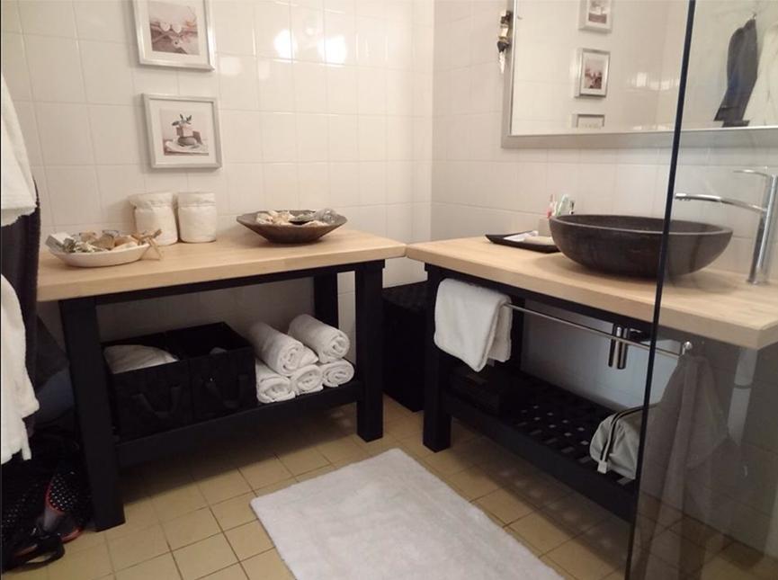 Meuble salle de bain double vasque bidouilles ikea - Faire une salle de bain pas cher ...