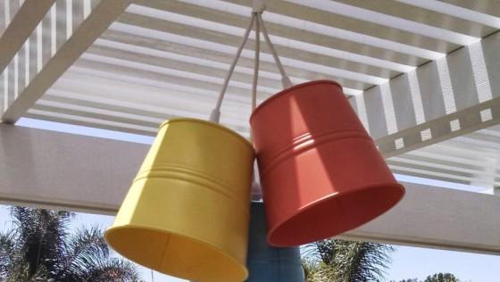 Triptyque de lampes pour patio