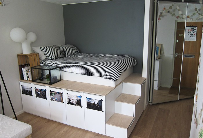 lit ikea diy pour stockage plateforme. Black Bedroom Furniture Sets. Home Design Ideas