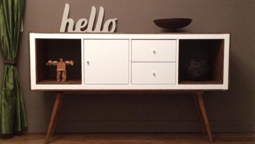 Un meuble styl ann es 50 avec kallax bidouilles ikea for Meuble console ikea