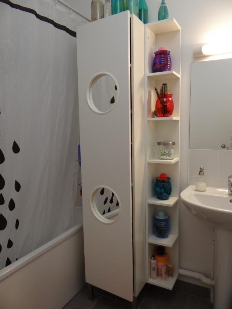 Le panier linge lillangen devient un placard de salle de bain bidouilles - Placard miroir salle de bain ...