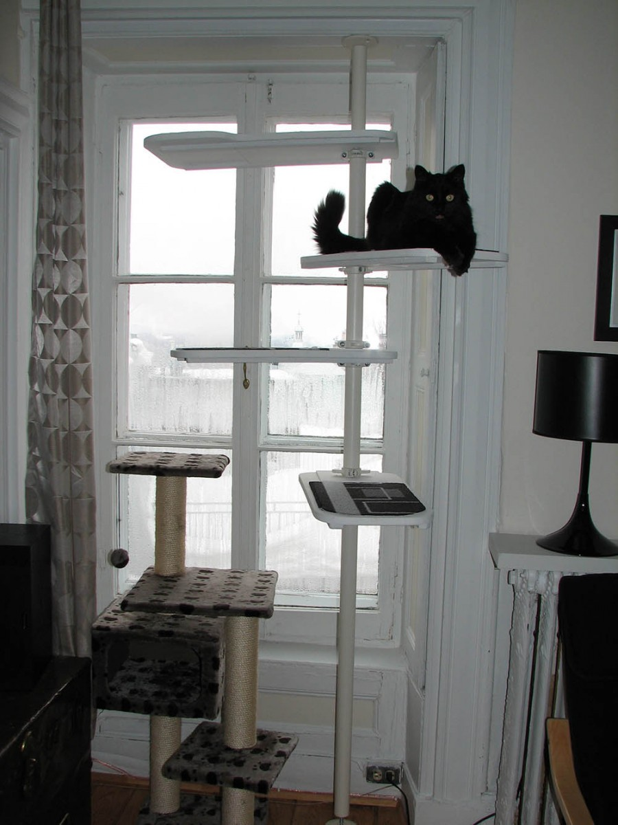 un arbre chat noir et blanc avec stolmen. Black Bedroom Furniture Sets. Home Design Ideas