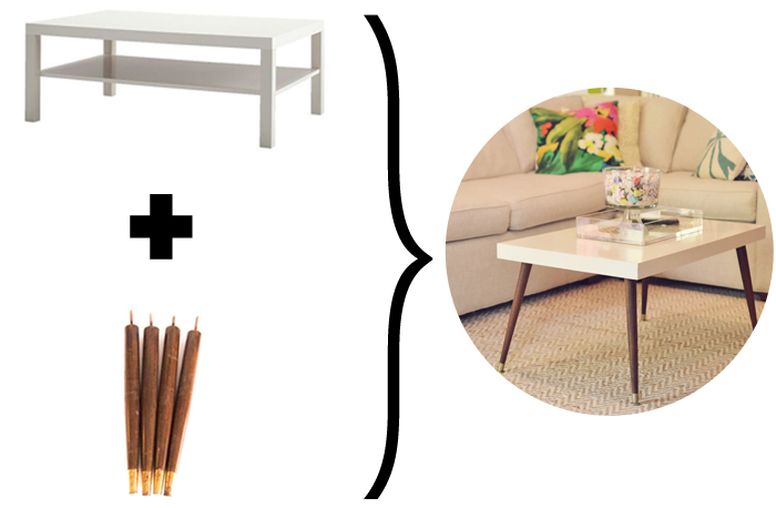 Table lack transform e en table basse ann es 50 moderne - Ikea pied de table ...