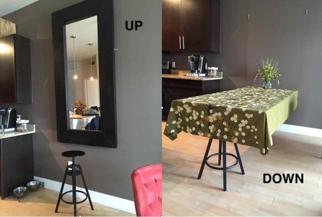 Une table de salle manger cach e avec un miroir ikea for Table de salle a manger avec un touret
