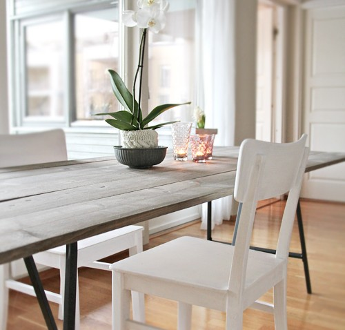 Table salle manger campagne chic bidouilles ikea for Ikea table a manger