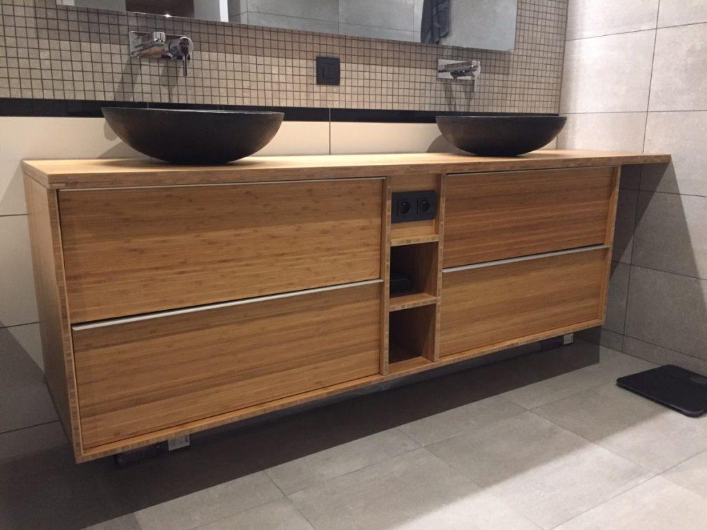 Meuble double de salle de bain godmorgon en bambou massif for Renover meuble salle de bain