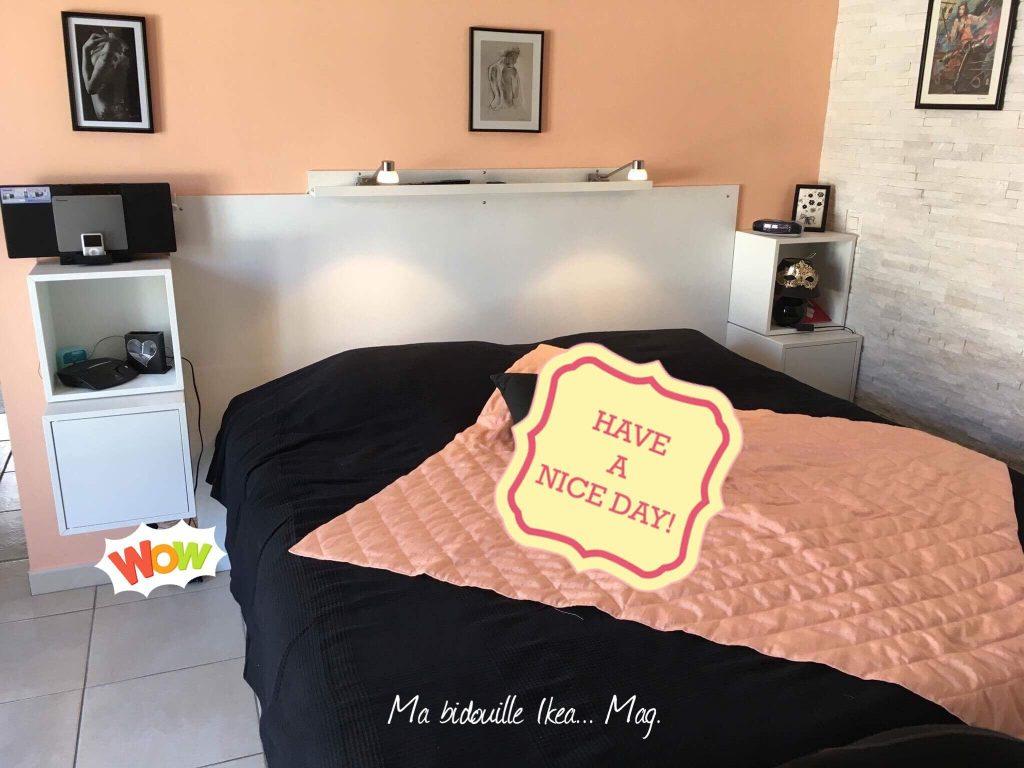 t te de lit sur mesure avec chevets bidouilles ikea. Black Bedroom Furniture Sets. Home Design Ideas