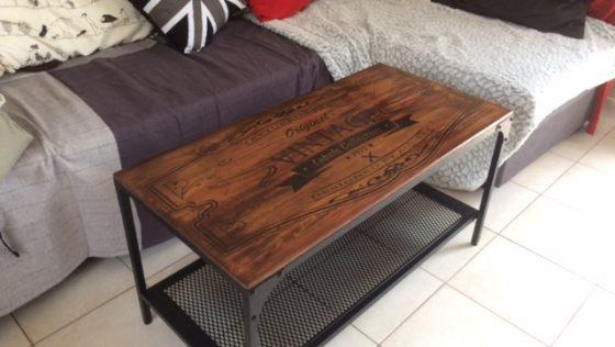 Customisation table basse FJALLBO industriel vintage