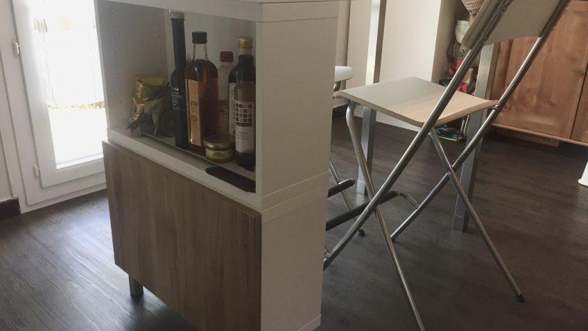 Table haute ilot de cuisine de delphine l120 x l60 x for Table haute pour cuisine
