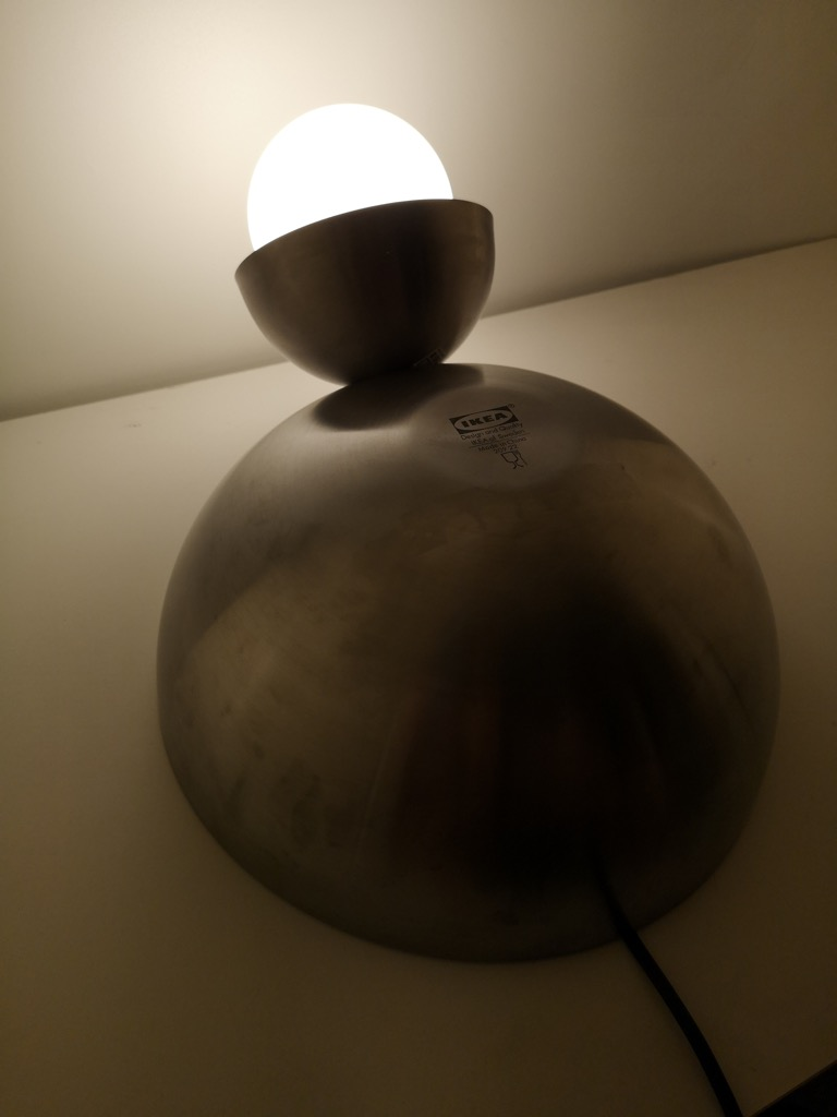 Light up with this cute table lamp made from serving bowls