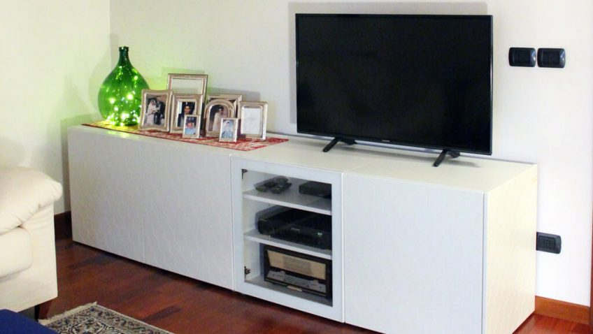meuble tv blanc intelligent qui cache
