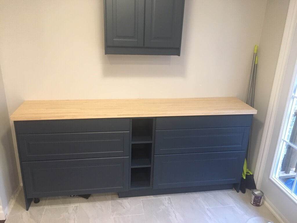 IKEA Kitchen Nook with painted kitchen cabinets