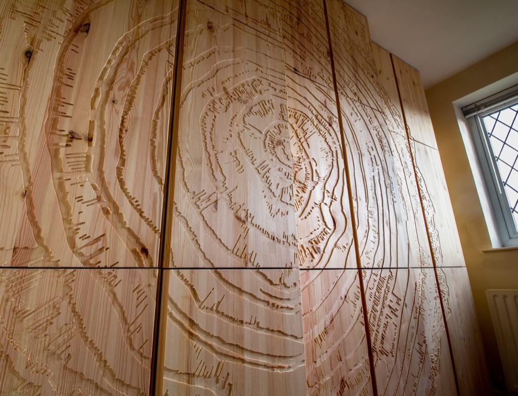 Tree ring engraved IKEA IVAR cabinet with doors