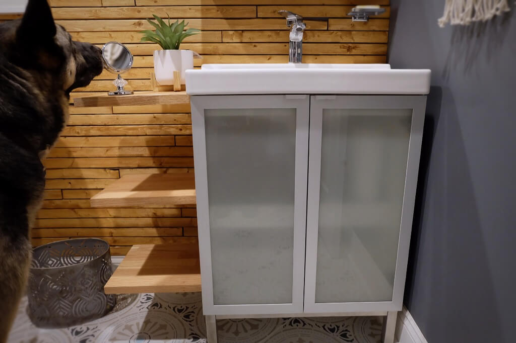 FULLEN + TÄLLEVIKEN sink vanity unit with extra countertop and shelves