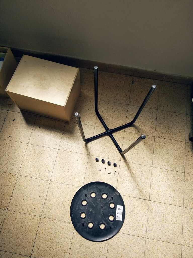 MARIUS stool disassembled